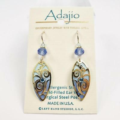 Adajio Earrings Light Blue Pointed Oval with Gold Plated Floral Overlay Handmade