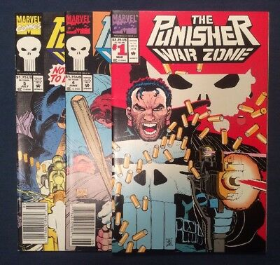 The Punisher: War Zone Lot Of 3 Comics #1,#4,#5 (Mar 1992, Marvel)