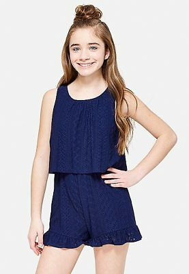 NWT Justice Girl's crochet ruffle navy romper Dress Top Shorts 16 FREE SHIPPING!