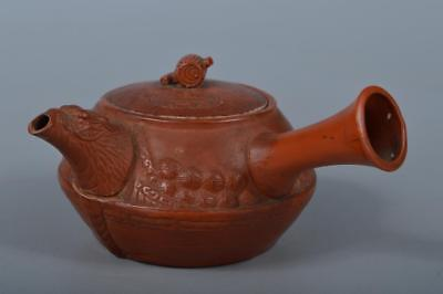 M2306: Japanese Old Tokoname-ware Shichifukujin Treasure ship-shaped TEAPOT