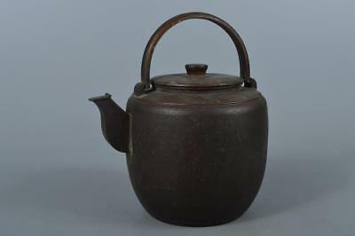 M3917: Japanese Old COPPER BOTTLE Teapot Dobin, Kanaya Gorosaburo made