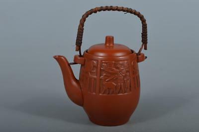 M4771: Japanese Tokoname-ware Brown pottery Person Bird sculpture TEAPOT Sencha