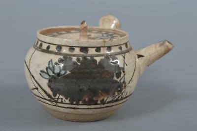 M4467: Japanese Old Kiyomizu-ware Flower Poetry pattern TEAPOT, Dohachi made