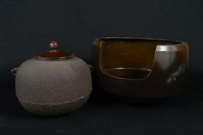 R1647: Japanese Copper Iron TEAKETTLE Teapot Chagama w/copper lid Tea Ceremony