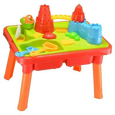 Sand And Water Play Table, 2 Compartment Design Castle, Moat Beach Accessories