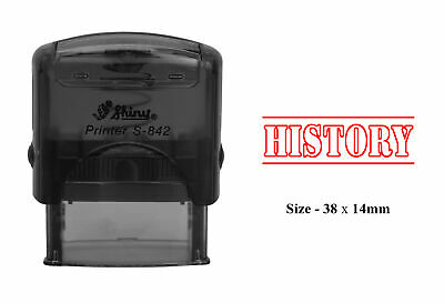 HISTORY Plastic Stamp Clear Print For Office Use Shiny S-842 Self-Inking Stamp