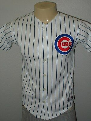 Majestic Sewn Chicago Cubs Pinstriped White Mlb Baseball Jersey Youth Large