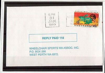 M4397sbs Australia Christmas Island 1999 year of Rabbit solo used on cover