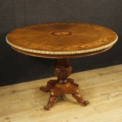 Round table for living room furniture Italian wood inlaid antique style 900