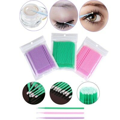 100x Cotton Mini Swab Disposable Micro brush Applicators Eyelash Extensions Fine