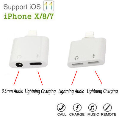 2in1 Lightning to Audio Headphone Adapter Lighning Charger For iPhone IOS 11 AU