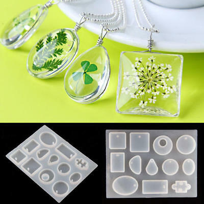 12X Silicone Mould Mold DIY Resin Round Necklace Jewelry Pendant Making Tool NEW
