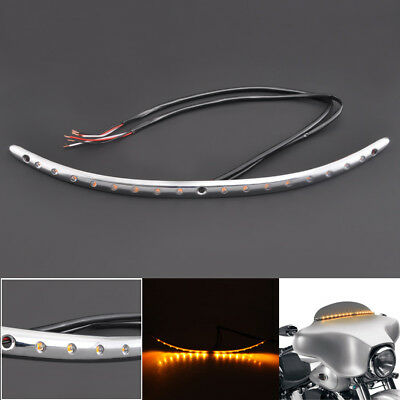 Windshield Trim w/ Turn Signal LED Light For Harley Touring Street Glide 2014-18