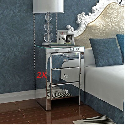 Pair Mirrored Glass Bedside Cabinets With 3 Drawers H58 x W40 x D40cm