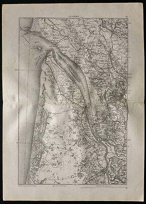 1880 - Old map of the Gironde