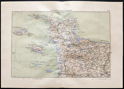 1880 - Antique map Engineer of the Cotentin & islands norman