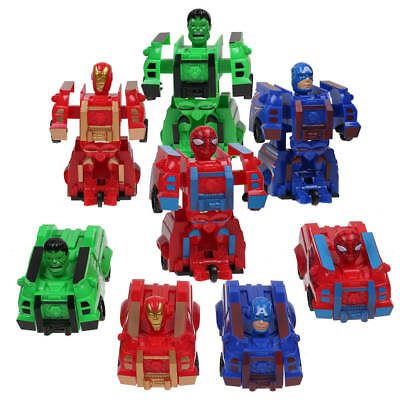 The Avengers Hulk Iron Man Captain America Spider Man Transformer Car Figure Toy