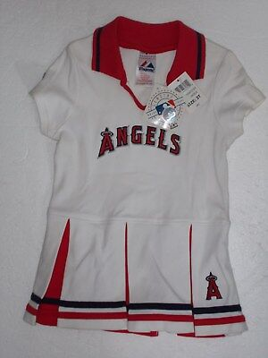 Nwt ! Los Angeles Angels Bianco Majestic Cucito 1 Piece MLB Cheerleader Abito 3T