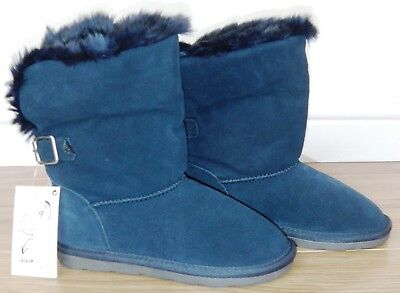 Bnwt Girls Next Navy Blue Suede Boots Uk 13 New School Shoes Winter Party Smart