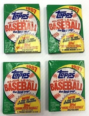 4 Packs 1987 Topps Baseball 17 count Pack LOT of 4 Unopened. Thirty Years Old!