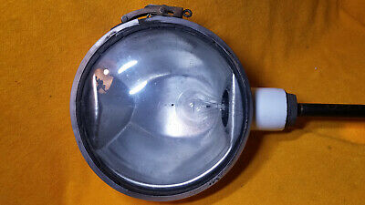 "Nice Vintage Industrial White Porcelain Enamel 10"" Dome Gas Station Light"
