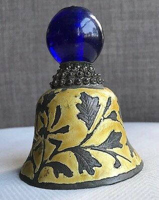Antique Qing Dynasty Chinese Enamel Silver Bell Mandarin Hat Finial Peking Glass