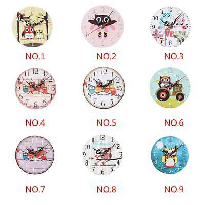 Owl Creative European Style Round Antique Wooden Home Wall Clock