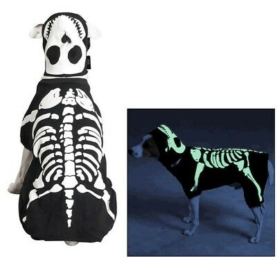 GLOW IN THE DARK extra large DOG COSTUME  halloween SKELETON bones outfit