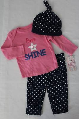 NEW Baby Girls 3 Pc Layette Set 6-9 Months Shirt Pants Hat Outfit Pink Heart