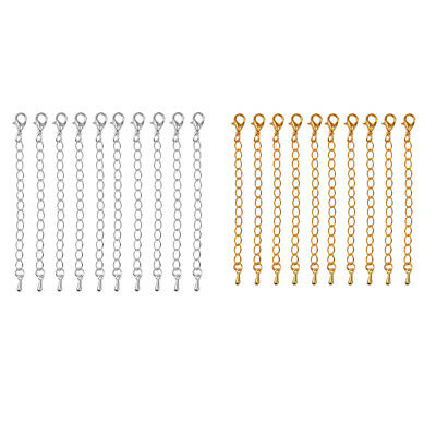 20 Pcs 70mm Crimp End Caps Lobster Clasp Extended Extension Chains DIY Craft