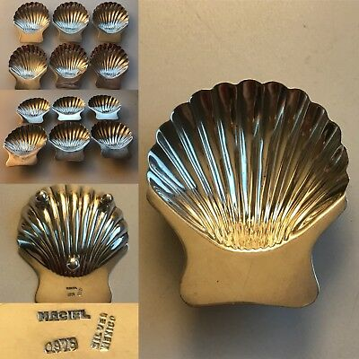 Vintage Set Of 6 Mexican Sterling Silver Maciel Shell Nut Candy Dishes