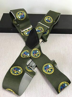 """Vtg Department Of The Army LOGO United States Men's Green Suspenders 32"""" to 45"""""""