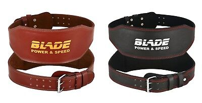 "Blade 6"" Gym Weight Lifting Belt Leather Training Fitness Power Back Support"