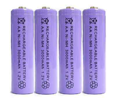 4 X AA 3000mAh 2A 1.2V Ni-MH Rechargeable NH-AA Cell Battery Batteries - Purple