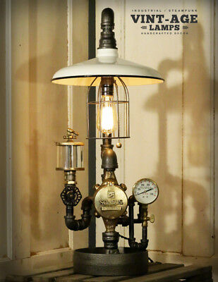 Industrial Steampunk  White Shade Gauge Lamp