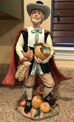 "Fitz And Floyd Harvest Heritage 18"" Tall Male Pilgrim Thanksgiving"