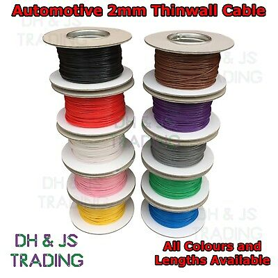 Automotive 2mm Thinwall Electrial Cable Auto Wire Thin Wall All Colours 25 Amp