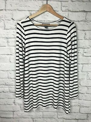 A PEA IN THE POD Black & White Striped Long Sleeve Top Size Medium Soft