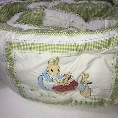 Pottery Barn Kids Beatrix Potter PETER RABBIT Quilted Baby Crib Bumper PBK
