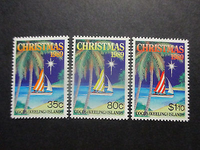 No--1----1989  Cocos   Island    Christmas   Issues  - 3    Stamps -- Mint  -A1
