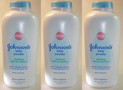 Johnsons Baby Powder - CORNSTARCH - Aloe & Vitamin E - 15 oz x 3 (45 oz total)