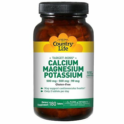 Country Life  Calcium  Magnesium  and Potassium  500 mg   500 mg   99 mg  180
