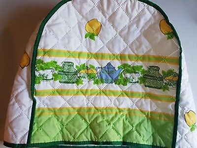 Vintage Toaster Cover Teapot Apples Green Yellow and Blue Toaster Cozy
