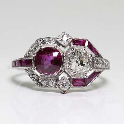 2.1 Ct Vintage Art Deco Two Stone Round Cut Engagement Ring 925 Sterling Silver
