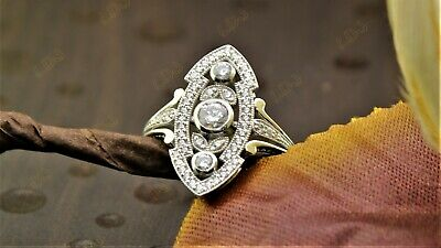 1.15 Ct Art Deco Vintage Antique Engagement Ring Sterling Silver Circa 1920's
