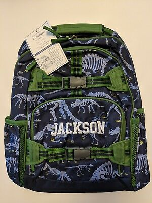 Pottery Barn Kids Backpack, Blue Dino, Blue/Green, Large, Jackson on Front, New