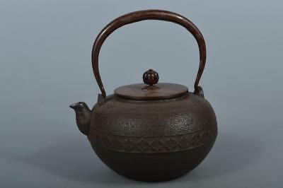 M5385: Japanese Iron Shapely TEA KETTLE Teapot Tetsubin w/copper lid