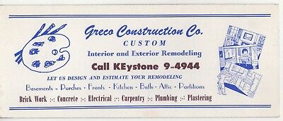 Vintage ~Ink Blotter~ Greco Construction Co. Advertising Phone Ke9-4944