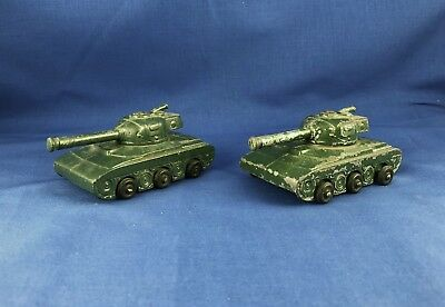"RARE Vintage WWII Era Hollow Cast 3.5"" Lead Toy Tanks - Lot of 2"