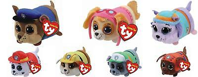 Set 7 Ty Teeny Tys Paw Patrol EVEREST CHASE RUBBLE SKYE MARSHALL ROCKY ZUMA MWMT